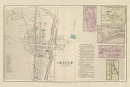 Greene Village, New York 1875 - Old Town Map Reprint - Chenango Co. Atlas