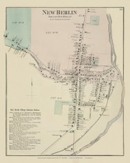 New Berlin Village, New York 1875 - Old Town Map Reprint - Chenango Co. Atlas