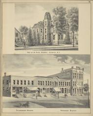 Residence of B. Gage Berry, Telegraph Block and Hughson Block, New York 1875 - Old Town Map Reprint - Chenango Co. Atlas