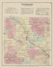 Otselic, New York 1875 - Old Town Map Reprint - Chenango Co. Atlas