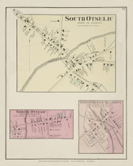 South Otselic, North Otselic and Lower Beaver Meadows, New York 1875 - Old Town Map Reprint - Chenango Co. Atlas