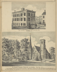 Oxford Academy and St. Paul's Church, New York 1875 - Old Town Map Reprint - Chenango Co. Atlas