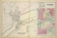 Oxford Village and Town of Pitcher, New York 1875 - Old Town Map Reprint - Chenango Co. Atlas
