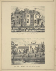 Residences of A.D. Harrington and H.L. Miller, New York 1875 - Old Town Map Reprint - Chenango Co. Atlas