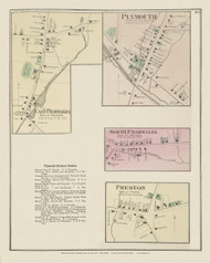 East Pharsalia, Plymouth, North Pharsalia and Preston Villages, New York 1875 - Old Town Map Reprint - Chenango Co. Atlas