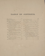 Table of Contents, New York 1869 - Old Town Map Reprint - Delaware Co. Atlas