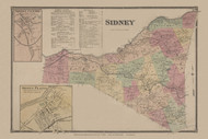 Sidney, New York 1869 - Old Town Map Reprint - Delaware Co. Atlas