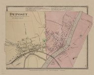 Deposit, New York 1869 - Old Town Map Reprint - Delaware Co. Atlas