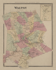 Walton, New York 1869 - Old Town Map Reprint - Delaware Co. Atlas