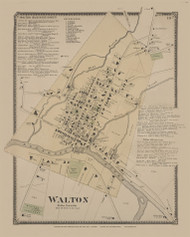 Walton Village, New York 1869 - Old Town Map Reprint - Delaware Co. Atlas