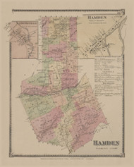 Hamden, New York 1869 - Old Town Map Reprint - Delaware Co. Atlas