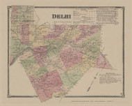 Delhi, New York 1869 - Old Town Map Reprint - Delaware Co. Atlas