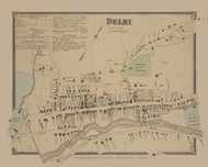 Delhi Village, New York 1869 - Old Town Map Reprint - Delaware Co. Atlas