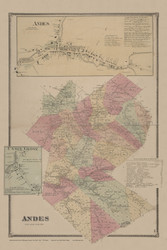 Andes, New York 1869 - Old Town Map Reprint - Delaware Co. Atlas