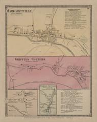 Margaretville, Griffins Corners, Lumberville & Clarks Factory Villages, New York 1869 - Old Town Map Reprint - Delaware Co. Atlas
