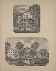 View on the River Delaware and Delaware Literary Institute, New York 1869 - Old Town Map Reprint - Delaware Co. Atlas