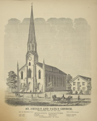 St. Peter's and Paul's Church, New York 1866 - Old Town Map Reprint - Erie Co. Atlas
