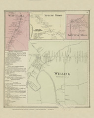 West Falls, Spring Brook, Griffins Mills and Willink Villages, New York 1866 - Old Town Map Reprint - Erie Co. Atlas