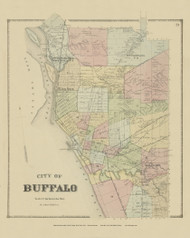 City of Buffalo, New York 1866 - Old Town Map Reprint - Erie Co. Atlas