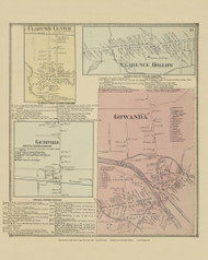Clarence Center, Clarence Hollow, Getzville and Gowanda Villages, New York 1866 - Old Town Map Reprint - Erie Co. Atlas
