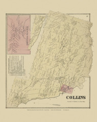 Collins, New York 1866 - Old Town Map Reprint - Erie Co. Atlas