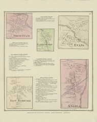 North Evans, Clarksburgh, Evans, East Hamburgh and Angola Villages, New York 1866 - Old Town Map Reprint - Erie Co. Atlas