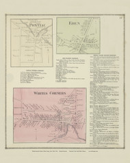 Pontiac, Eden and Whites Corners Villages, New York 1866 - Old Town Map Reprint - Erie Co. Atlas