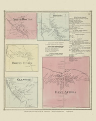 North Boston, Boston, Boston Center, Glenwood and Aurora Villages, New York 1866 - Old Town Map Reprint - Erie Co. Atlas