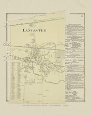 Lancaster Village, New York 1866 - Old Town Map Reprint - Erie Co. Atlas