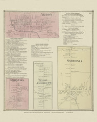 Akron, Kerrs Cor's, Amherst P.O. and Sardinia Villages, New York 1866 - Old Town Map Reprint - Erie Co. Atlas