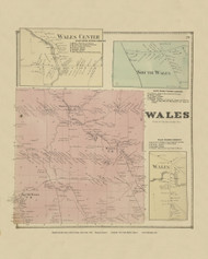 Wales, New York 1866 - Old Town Map Reprint - Erie Co. Atlas