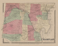 Champlain, New York 1869 - Old Town Map Reprint - Clinton Co. Atlas