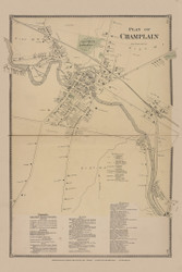 Champlain Village, New York 1869 - Old Town Map Reprint - Clinton Co. Atlas