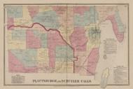 Plattsburgh & Schuyler Falls, New York 1869 - Old Town Map Reprint - Clinton Co. Atlas