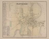 Plattsburgh Village, New York 1869 - Old Town Map Reprint - Clinton Co. Atlas