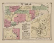 Au Sable, New York 1869 - Old Town Map Reprint - Clinton Co. Atlas