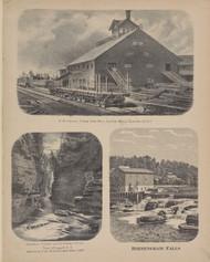 R.W. Adams Steam Saw Mill, Ausable Chasm, Birmingham Falls, New York 1869 - Old Town Map Reprint - Clinton Co. Atlas