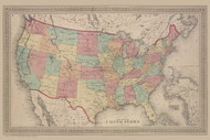 Map of the United States, New York 1874 - Old Town Map Reprint - Wayne Co. Atlas