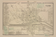 Clyde Village, New York 1874 - Old Town Map Reprint - Wayne Co. Atlas