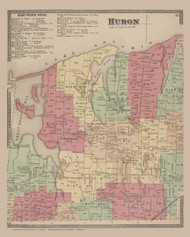 Huron, New York 1874 - Old Town Map Reprint - Wayne Co. Atlas