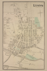 Lyons Village, New York 1874 - Old Town Map Reprint - Wayne Co. Atlas