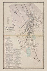 Chatham Village, New York 1873 - Old Town Map Reprint - Columbia Co. Atlas
