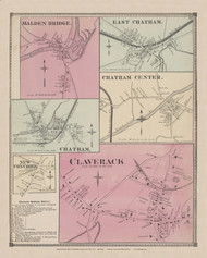 Chatham, Chatham Center, East Chatham, New Cocnord, Malden Bridge, and Claverack Villages, New York 1873 - Old Town Map Reprint - Columbia Co. Atlas