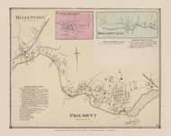 Mellenville, Philmont, Churchtown and Hollowville Villages, New York 1873 - Old Town Map Reprint - Columbia Co. Atlas