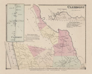 Town and Clermont and Clermont Village, New York 1873 - Old Town Map Reprint - Columbia Co. Atlas