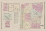 Town of Copake and Copake Station, Craryville,  Copake and Gallatinville Villages, New York 1873 - Old Town Map Reprint - Columbia Co. Atlas