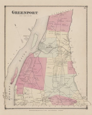 Greenport, New York 1873 - Old Town Map Reprint - Columbia Co. Atlas