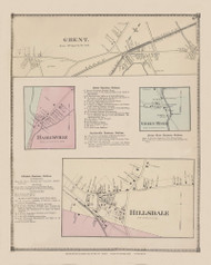 Hillsdale, Ghent, Green River, and Harlemville, New York 1873 - Old Town Map Reprint - Columbia Co. Atlas