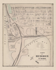 Hudson City 1st Ward, New York 1873 - Old Town Map Reprint - Columbia Co. Atlas