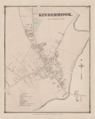 Kinderhook Village, New York 1873 - Old Town Map Reprint - Columbia Co. Atlas